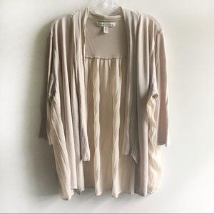 French Laundry cardigan tan long sleeves pleats